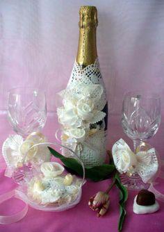 Copas y botella dec.para bodas