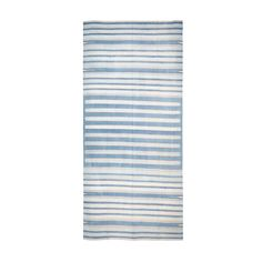 Soft and Worn Blue Striped Vintage Indian Dhurrie