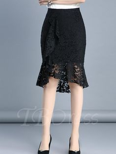 #AdoreWe #TBDress TBDress Asymmetric Pleated High-Waist Lace Hollow Womens Skirt - AdoreWe.com