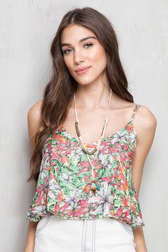 blusa cropped estampada fiesta das flores | Dress to