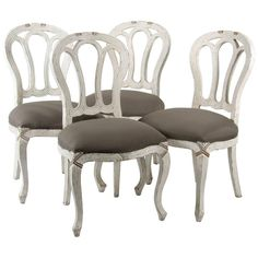 Set Of Four Dining Room Chairs - Style Side Gustavian Style Century French Louis Xv Fabric, Wood Dining Room Chairs, Side Chairs, French Kitchen Decor, Modern Chairs, Cool Furniture, Wood, Fabric, Home Decor, Style