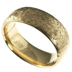 Gold Filled Victorian Floral Bangle - Vintage Costume Jewelry - Vintage and Repurposed