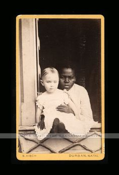 Antique CDV Photo Little White Child with Very Young African / Black Nanny Girl