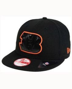 New Era Cincinnati Bengals Black Bevel 9FIFTY Snapback Cap - Black Adjustable
