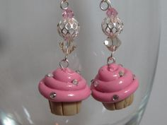 Berry Sparkle Creme Vanilla Cupake Dangle Earrings by Glassdezignz, $10.00 30% off with coupon code HEART14 at www.glassdezignz.etsy.com  #earrings #dangle #fashion #trendy #forher #girls #women #etsy #handmade #art #artistlife #fineart #jewelryart #wearableart #retro #silver #fashionfun #glass #beads #happy #polkadots #polkadot #gift #giftidea #etsyart #cupcake #cupcakes #bracelet #pastry #hotpink #Swarovski #crystal #sprinkles #cake #pink #pinkandblack #sale #coupon #facebook