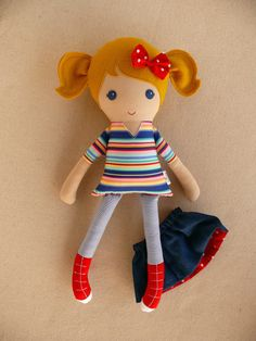 Fabric Doll Rag Doll Blond Haired Girl in Playful by rovingovine