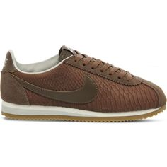 Nike Classic Cortez OG reptile-effect trainers featuring polyvore, women's fashion, shoes, sneakers, long shoes, reptile print shoes, nike footwear, sports footwear and print shoes