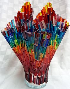 Mosaic glass colorful vase 10 inch by AynGlass on Etsy, $200.00