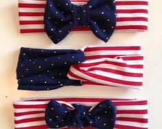 Red, White, & Blue headband, bow headband, knotted headband, turban style headband, Fourth of July Headband