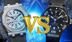 What if you had to choose between two luxury diving watches: the Audemars Piguet Royal Oak Offshore Diver VS Hublot Big Bang Black Magic. Which is Better? Audemars Piguet Watches, Hublot Watches, Audemars Piguet Royal Oak, Ap Royal Oak, Royal Oak Offshore, Black Magic, Bigbang, Diving, Bangs