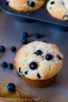 Skinny Banana Blueberry Muffins. - Sallys Baking Addiction