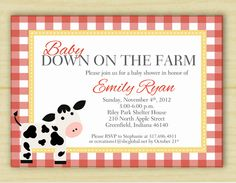 Red Ginham Down on the Farm Baby Shower Invitations (digital image). $25.00, via Etsy.