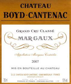 Depuis 1932, le Château Boyd-Cantenac appartient à la famille Guillemet. D'une superficie de 17 hectares au coeur de l'appellation Margaux, C'est une 3ème Grand Cru Classé. a retrouver sur http://www.lacavedourthe.com/