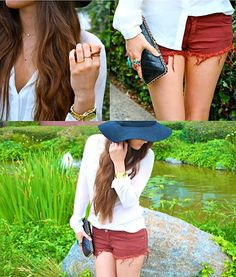 Brandy Melville Rustic Wine Cut Off Shorts, Chanel Clutch, Topshop Rings, Urban Outfitters Hat