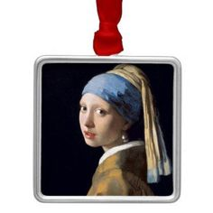 Johannes Vermeer - Girl with a Pearl Earring Metal Ornament - antique gifts stylish cool diy custom
