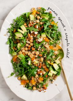 Quinoa Apricot and Arugula Salad - delicious! I substituted farro for the quinoa and added feta. I didn't use quite as much cumin in the dressing. Served garlic bread on the side
