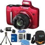 Canon Powershot SX160 IS 16MP 16x Zoom Red Digital Camera 16GB Bundle