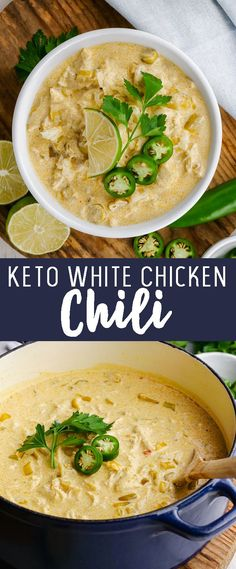 Keto White Chicken Chili - Easy Peasy Meals A beanless, low carb chili that is loaded with flavor and lacking in carbs! Creamy White Chicken Chili, Crockpot White Chicken Chili, Low Carb Chicken Chili Recipe, Orange Chicken, Ketogenic Recipes, Keto Recipes, Healthy Recipes, Ketogenic Diet, Easy Recipes