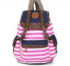 USHOPPINGCART UNISEX FASHIONABLE CANVAS BACKPACK SCHOOL BAG SUPER CUTE STRIPE SCHOOL COLLEGE LAPTOP BAG FOR TEENS GIRLS BOYS STUDENTS PINK  - Click image twice - See a larger selection of little girls backpacks at http://kidsbackpackstore.com/product-category/little-girls-backpack/ - kids, juniors, back to school, kids fashion ideas, school supplies, backpack, bag , teenagers, girls, boys, gift ideas