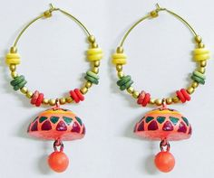 Pair of Hand Painted Green with Red Design on Saffron Terracotta Ring with Jhumka Earrings