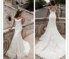 Wedding Dress, Sheath Sheer Wedding Dress, Top Wedding Dress, 2016 Wedding Dress, Lace Wedding Dress, Court Train Bridal Gowns with Buttons, Hot Sale Wedding Dress, Custom Made Wedding Dress