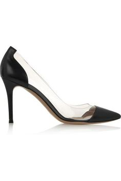 Heel measures approximately 85mm/ 3.5 inches Black leather, clear PVC  Slip on Small to size. See Size & Fit tab.