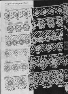 Irish crochet lace edgings with roses (Duplet ~~ LOVE Nr 5 Crochet Edging Patterns, Crochet Lace Edging, Crochet Borders, Crochet Diagram, Crochet Chart, Crochet Trim, Crochet Doilies, Crochet Flowers, Crochet Edgings
