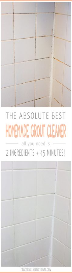 Need to clean grout in your bathroom or kitchen? This is the absolute BEST homemade grout cleaner; just baking soda and bleach!