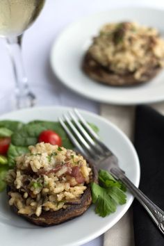 Bacon & Mushroom Risotto Stuffed Mushrooms - Erren's Kitchen - Indulge in this delicious twist on a classic dish that can be served as an appetizer.