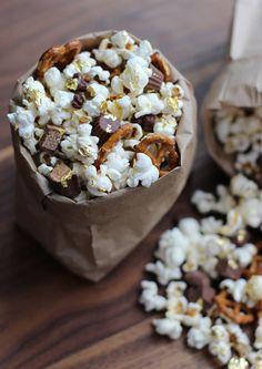 popcorn, pretzel, candy mix