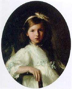 Portrait of a Young Girl Wearing a White Dress and Hair Ribbon -- from the Circle of Jacques Emile Blanche (French, 1861–1942)
