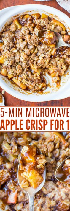 5-Minute Microwave Apple Crisp for One - Averie Cooks Microwave Apple Crisps, Microwave Recipes, Cheap Meals, Easy Meals, Vegan Butter Substitute, Vegetarian Recipes Dinner, Healthy Recipes, Cinnamon Crumble, Apple Cinnamon