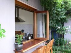 Bi folding windows are my ew obsession Cafe Window, Window Bars, Window Sill, Wooden Windows, Windows And Doors, Pass Through Window, Window Design, Beautiful Kitchens, Sweet Home