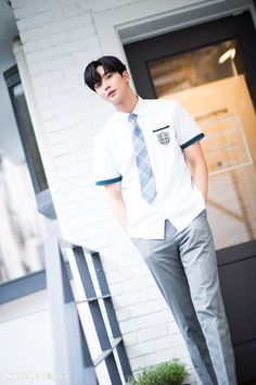 Rowoon 'One Day Found by Chance' promotion photoshoot by Naver x Dispatch. Drama Korea, Korean Drama, Kim Ro Woon, Kim Young, Brown Eyed Girls, Kdrama Actors, Cha Eun Woo, School Uniform, Handsome Boys