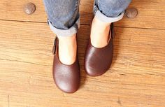 Handmade Soft Shoes for WomenOxford Dark Brown Tan Shoes Flat Shoes Retro Leather Shoes Slip Ons by HerHis