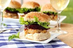Turkey sliders stuffed with leftover stuffing and topped with cranberry sauce!