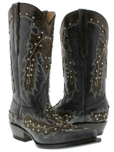 Women's Cowboy Boots Ladies Dance Leather Studded Western Riding Biker Rodeo New | eBay