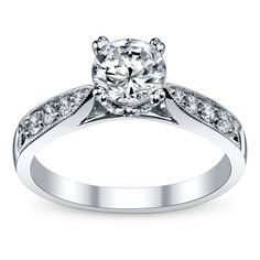 14K White Gold Diamond Engagement Ring Setting 1/4 Cttw. by RB Signature