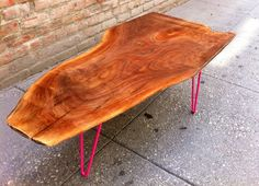 SOLD - Unique Highly Figured Black Walnut Live Edge Coffee Table modern mid century Eames coffee table walnut sustainable live edge Pink slab reclaimed hairpin legs magenta dining table