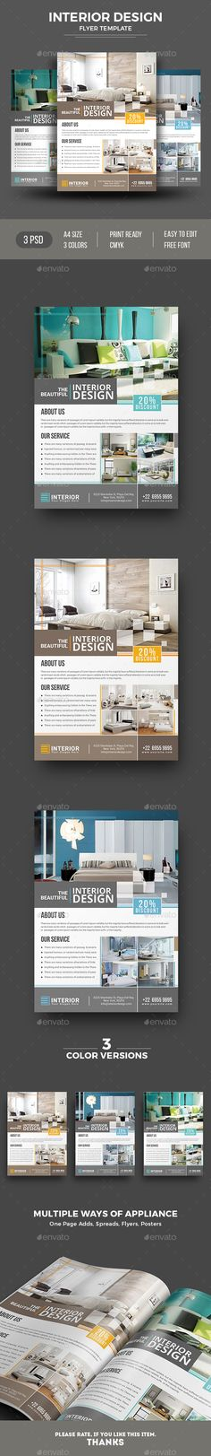Interior Design Flyer | Open House PSD Flyer Template | User Friendly | Premium Design with Free Fonts | Flexible + Multipurpose | Instant Download