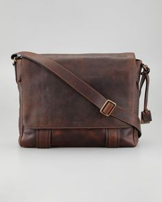 Logan Flap Messenger Bag by Frye at Neiman Marcus. Vintage Leather Messenger Bag, Leather Bags Handmade, Leather Backpack, Mens Travel, My Wallet, Backpack Purse, Dark Brown Leather, Tote Handbags, Purses And Bags