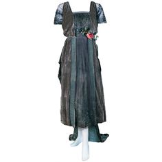 1910's Edwardian Couture Silver Lame & Velvet Gown with Train