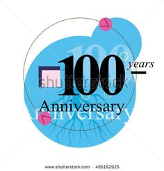 100 years anniversary logo with blue circle composition. anniversary logo for birthday, wedding, celebration and party