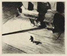 Night Shadows (Sombras Nocturnas), 1921 . Edward Hopper   Água-forte, 17,6 x 20,8 cm   Nova Iorque, Collection of Whitney Museum of American Art, Legado de Josephine N. Hopper 70.1048