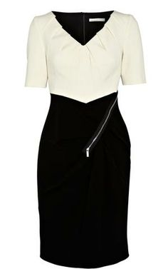 Karen Millen Colour Block Mini Dress Black&White - suit-dresses.com - $83.85