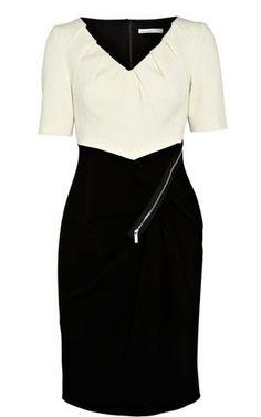 Karen Millen Colour Block Mini Dress Black&White - suit-dresses.com - $83.85