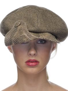Newsboy.003 - Swoop Visor Newsboy - Beige, Black, Gray & Olive Fine Hounds tooth Crown - Brown Faux Snakeskin Visor & Accent Button - Dupioni Silk Lining - Grosgrain Inside Band - Made To Order On Premise  #millinery #judithm #hats