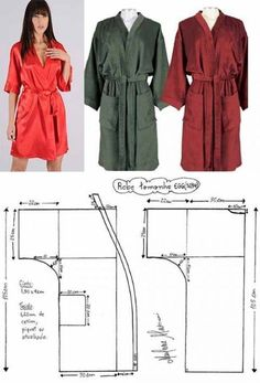 kimono dressing gown pattern with a smell and sleeves: 16 thousand images are found in Yandex. Sewing Dress, Dress Sewing Patterns, Clothing Patterns, Sewing Diy, Sewing Pants, Dressing Gown Pattern, Kimono Dressing Gown, Sewing Clothes Women, Diy Clothing