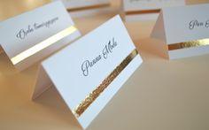 ORO | Złote winietki | #gold #wedding #ślub #design #inspiration Retirement Parties, Name Cards, Weeding, Wedding Invitations, Wedding Day, Wedding Inspiration, Place Card Holders, Calligraphy, Birthday