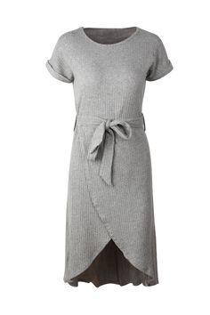 7c961379f58e9 Solid Wrap Hem Self-Tied Rib Midi Dress – KyraKiss